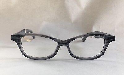 NEW Wissing Handmade Custom Petite Gray Cat Eye Striped Eyeglasses Frames $360