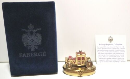 *EXCELLENT* Faberge Red ROYAL COACH Peint Main Limoges Trinket Box Made France