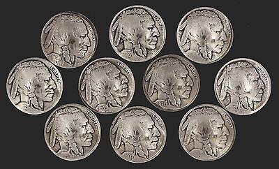 10 Buffalo Nickel Concho Buttons - I - BIN