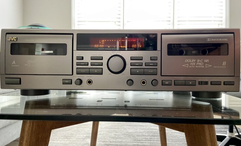 NICE JVC Audio Cassette Player Dual Deck TD-W309 Works Great! Pitch Control