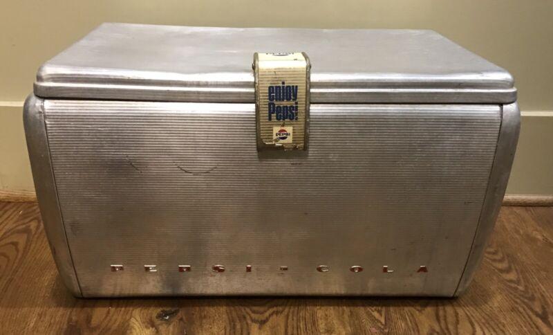 Vintage Original Aluminum PEPSI COLA AIRSTREAM COOLER Ice Chest Storage 1950