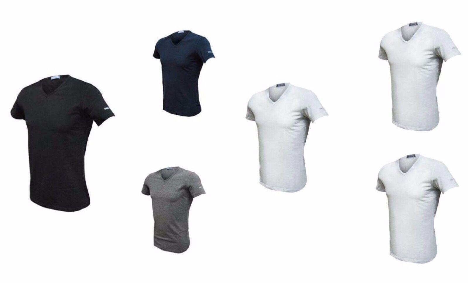 3 t shirt uomo mezza manica scollo V cotone bielastico ENRICO COVERI ET1001