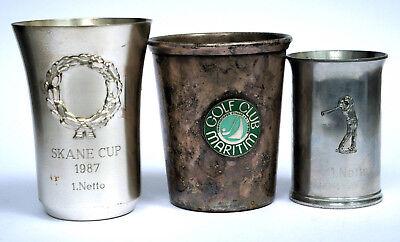 3 Golf Trophäen, Becher, Sieger-Pokale, 1987/88, Zinn, Silver Plate, Top!