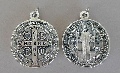 1 St. großer Heiliger Benediktus Kettenanhänger  4,7 cm  Medaille Metall  Q 1008