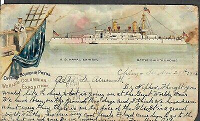 Official Souvenir Postcard World's Columbian Exhibition U.S. Naval Exhibit #2