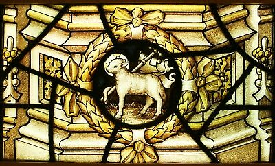 Antique Church LEADED Painted STAINED GLASS - Lamb of God - We Ship Worldwide