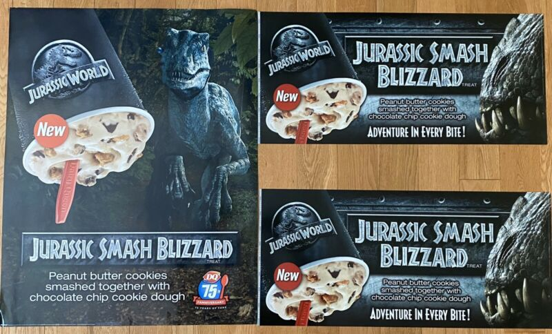 Rare Jurassic World 2015 Dairy Queen Large Displays Lot Of 3 W/ Indominus Rex