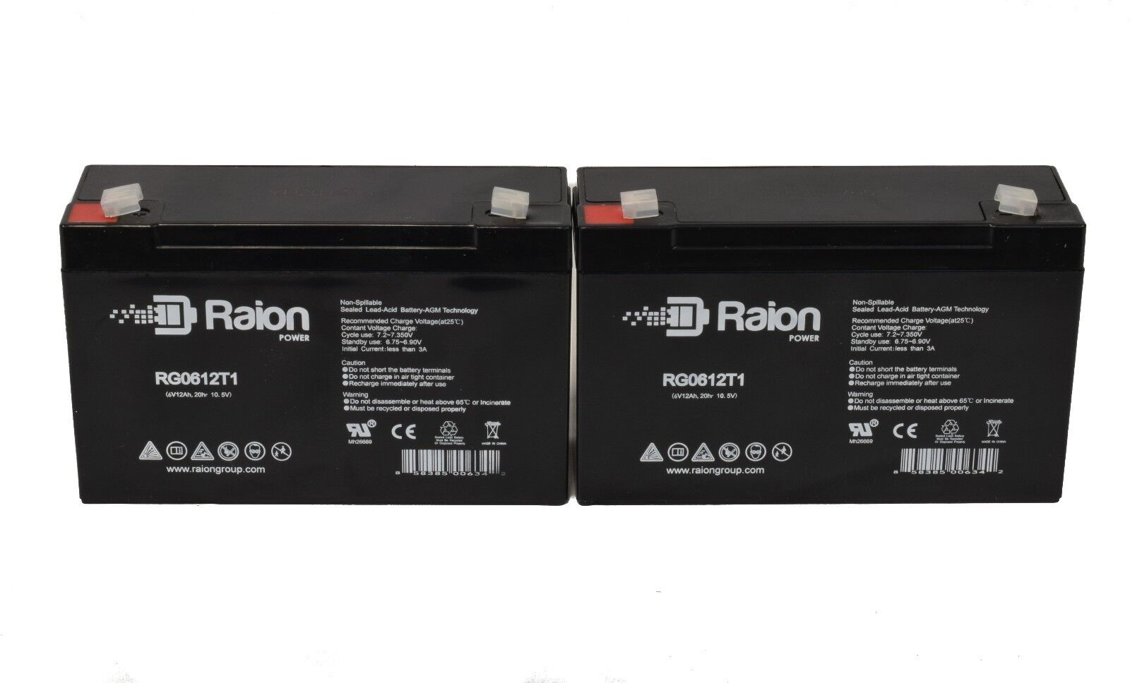 Raion 2 Pack - 6v 12amp Deep-cycle Rechargeable Sealed En...