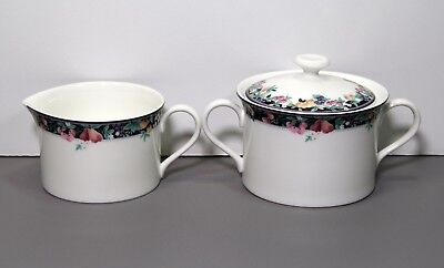 One Orchard Mural Creamer and Sugar Bowl with Lid - Mikasa Made in - Orchard Mural