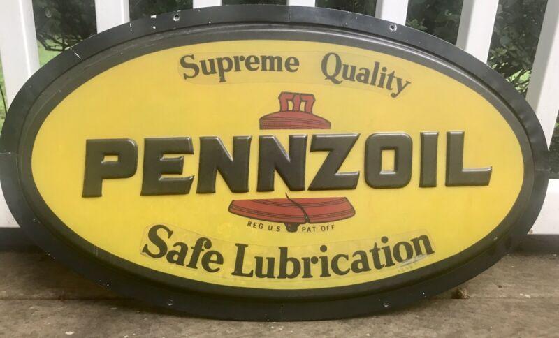 """Vtg Pennzoil Embossed Translucent Plastic Sign 31"""" x 18"""" Advertising Gas Oil"""