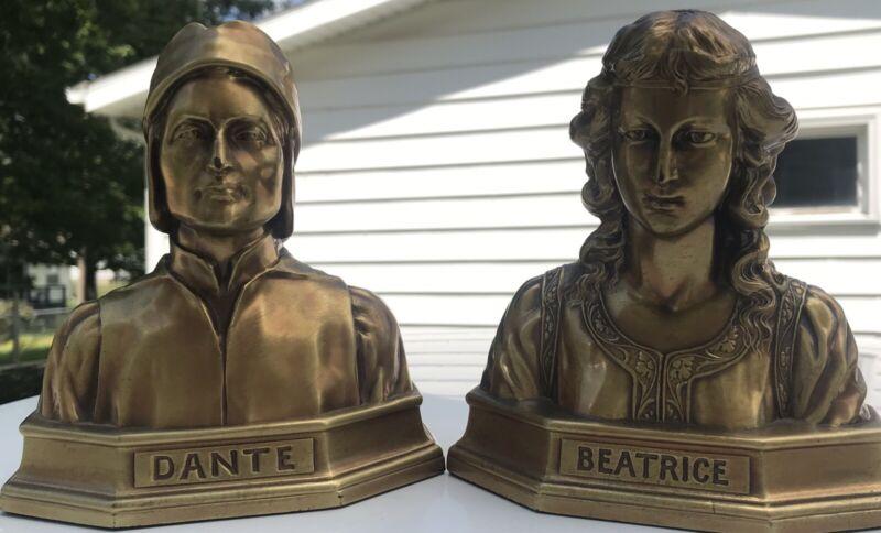 Vintage Dante & Beatrice Bookends PM Mfg Philadelphia Cast Metal Italy Poet
