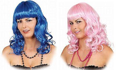 Perücke Katy blau rosa mit Pony Locken Meerjungfrau Fee