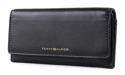 TOMMY HILFIGER Smooth Leather EW Slim Flap Wallet Geldbörse Black Schwarz Neu - Schwarz Leather Slim Wallet
