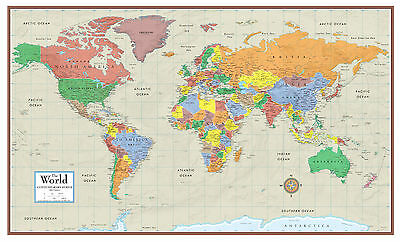 World Contemporary Elite Wall Map Mural Poster Paper Laminated or Framed