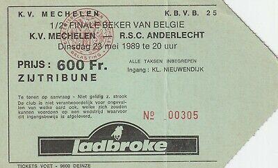 ticket Belgium cup KV Mechelen - RSC Anderlecht 1989