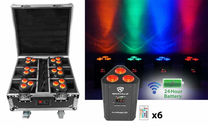 Rockville ROCKWEDGE PACKAGE BLACK (6) Battery Powered Wireless DMX Lights+Case
