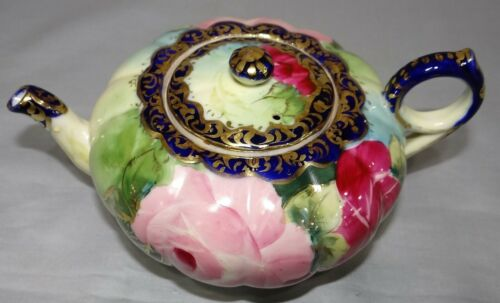 Vtg IE Co. Japan Hand Painted Teapot Cobalt Blue w Gold Pink & Red Roses