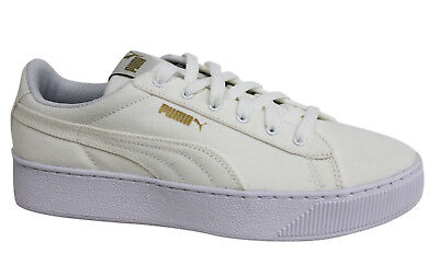 Puma Vikky Platform CV Lace Up Off White Womens Textile Trainers 365603 01 P3B