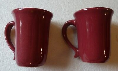 "(2) Workshops of Gerald E. Henn Pottery Maroon Red Coffee Cup Mug 4.5"" Tall"