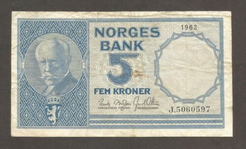 Norway 5 Kroner 1962; F+; P-30g; Explorer; Mountain; Fishing scene