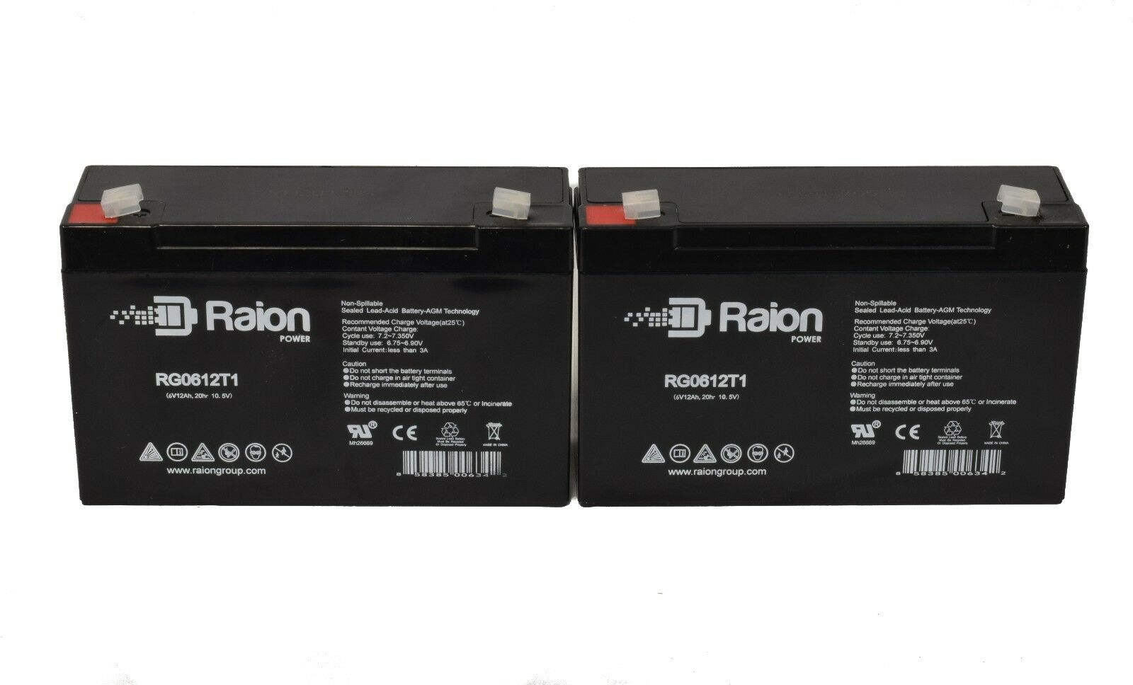 Raion Combo Of 2 6v 12ah 6 Volt 12 Amp Hour Sealed Lead A...