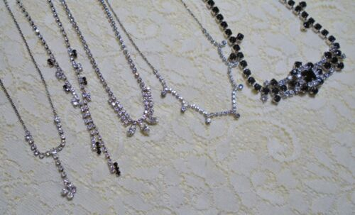 ASSORTED BLACK & CLEAR RHINESTONE SILVER TONE NECKLACE LOT