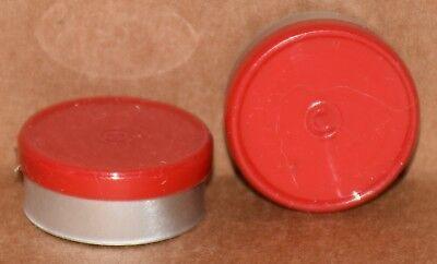20mm Aluminum Plain Flip Top Serum Vial Seals Red - Qty. 100