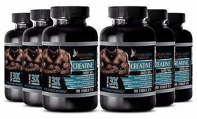 (Pure Creatine Monohydrate Powder 3X 5000mg HCL Weight Gainer 6 Bottles 540 Pills)