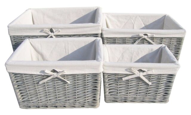 Large Grey Wash Willow Lined Deep Rectangular Storage Basket With Lining