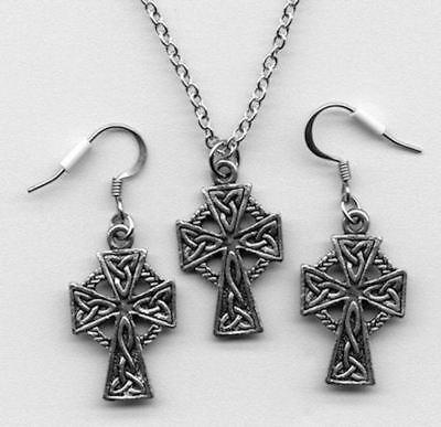 Celtic Cross Necklace Earrings Jewelry Gift Set Pewter Pendant Charm Irish Knot (Celtic Set Jewelry Set)
