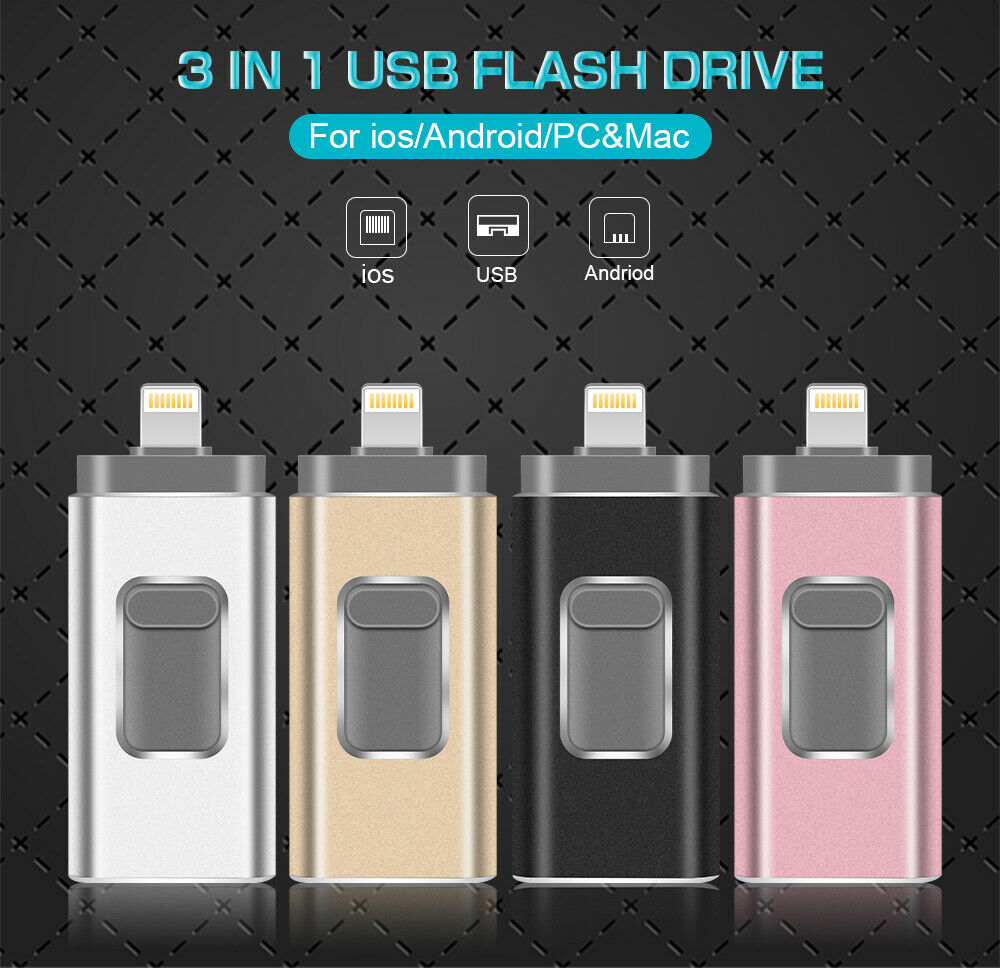 OTG 32GB to 512GB Flash Drive USB Memory Stick 3 in 1