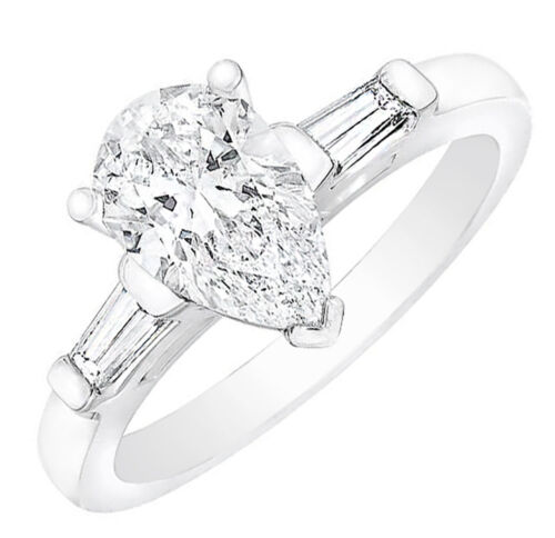 GIA Certified Diamond Engagement 3 Stone Pear shape and Baguette Ring 1.40 ca...