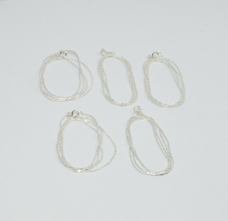 WHOLESALE 5PC 925 SOLID STERLING SILVER PLAIN CHAIN LOT V088