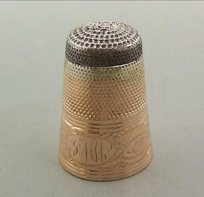 GEORGIAN 15K SOLID GOLD & STEEL THIMBLE