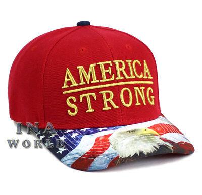 USA American Flag hat AMERICA STRONG Snapback Eagle Flag bill Baseball cap- Red