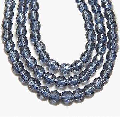 GLASS BEADS 4mm ROUND FACETED CZECH FIREPOLISHED MONTANA BLUE 100pc ()