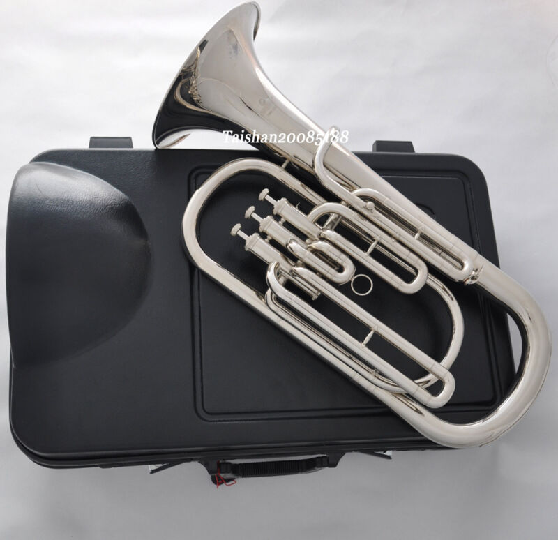 JINBAO 3 Piston Bb Silver Nickel Plate Baritone Brass Horn with ABS case