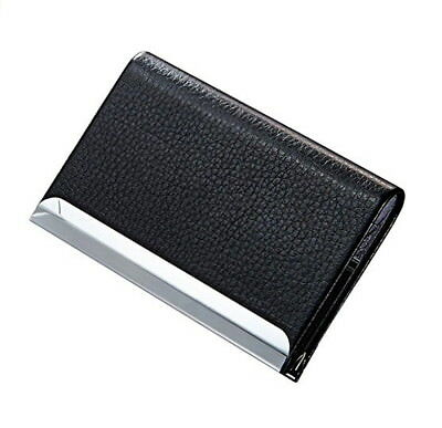 Black Pu Leather Pocket Metal Business Id Credit Card Holder Case Wallet
