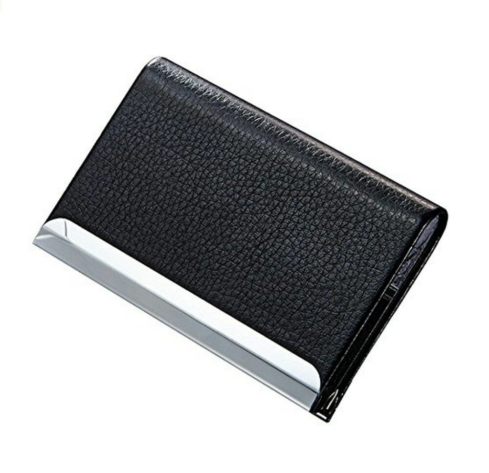 Black PU Leather Pocket Metal Business ID Credit Card Holder Case Wallet Business & Industrial
