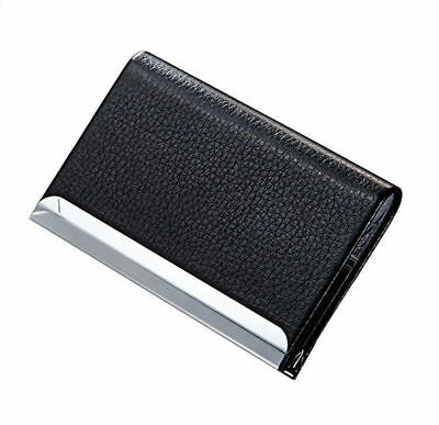 Black Pu Leather Pocket Metal Business Id Credit Card Holder Case Wallet New