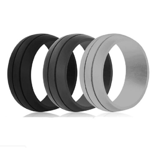 3 Pack Silicone Wedding Engagement Ring Men Women Rubber Band Gym Sports Us