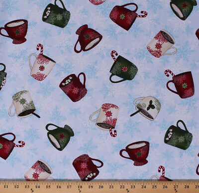 Hot Chocolate Cocoa Mugs Cups Christmas Winter Cotton Fabric Print BTY D504.04