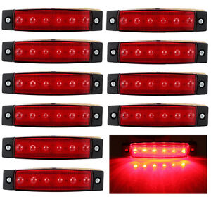 10x-6-LED-Red-Clearence-Truck-Bus-Trailer-Side-Marker-Indicators-Light-Lamp-12V