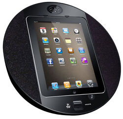 Pyle PIPDSP2B iPad/iPhone Touch Screen Dock W/ FM Radio/Alarm Clock (Black)