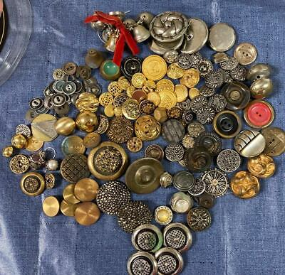 Vintage and Antique 100+ Multi Colored, Sizes, Metal Button Lot