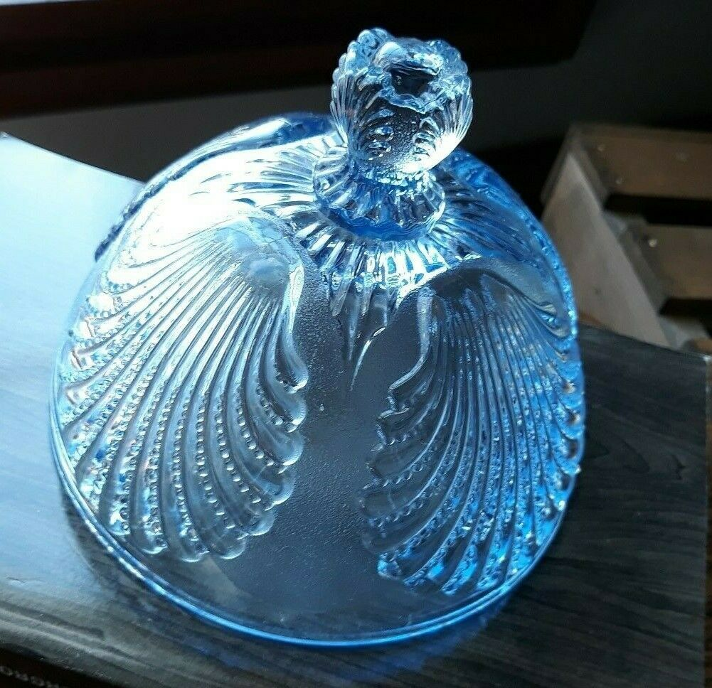 Vintage Round Pattern Glass Butter Dish Ice Blue Top only