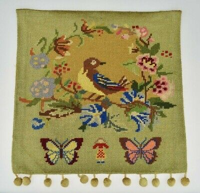 Charming Vintage 1940s Small Hand Made Tapestry Hanging Flowers Bird Butterflies