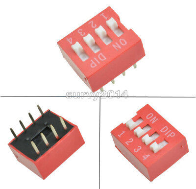 10pcs Slide Type Switch Module 2.54mm 4-bit 4 Position Way Dip Red Pitch New
