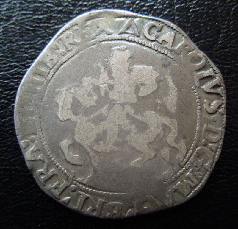 Great Britain c1625-1649 King Charles I Tower Mint Half 1/2 Crown Silver Coin