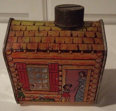 Vintage Log Cabin Syrup Coin Bank Tin Western Container Metal W TOP